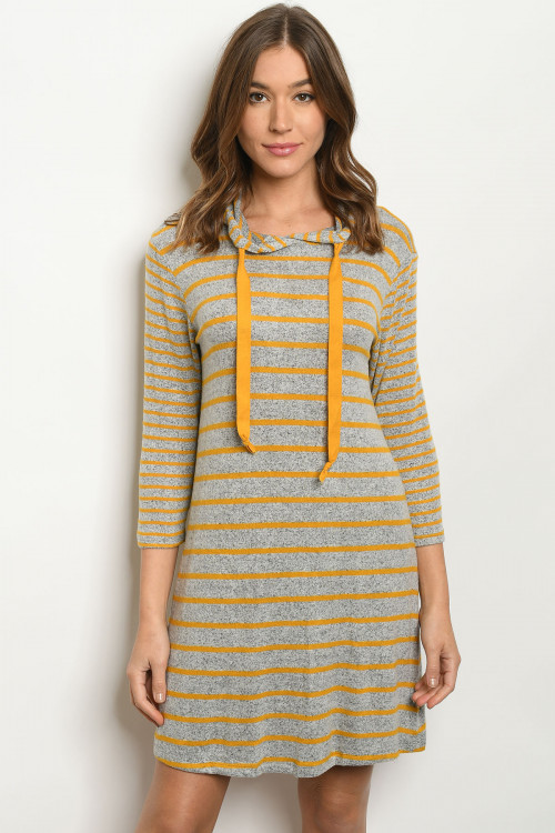 C1-A-2-D2675 GREY MUSTARD STRIPES DRESS 2-2-2