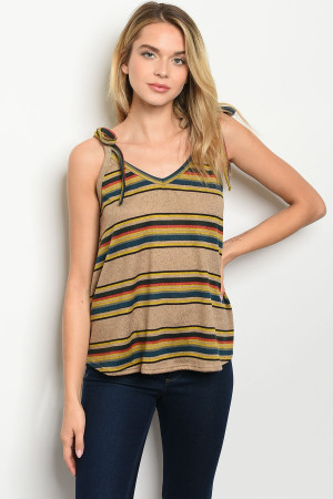 C72-B-3-T51484 TAUPE MUSTARD STRIPES TOP 2-2-2