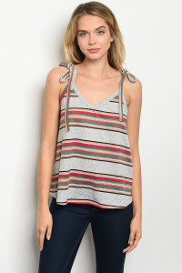 C72-B-3-T51518 GREY MULTY STRIPES TOP 2-2-2