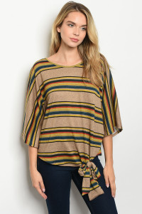 C78-A-2-T51518 TAUPE MUSTARD STRIPES TOP 2-2-2