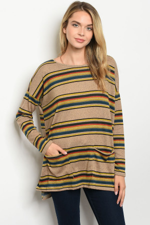 C82-A-2-T50982 TAUPE MUSTARD STRIPES TOP 2-2-2