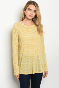 C69-A-4-T2412 MUSTARD STRIPES TOP 2-2-2