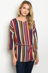 C40-A-6-T5041 WINE MULTY STRIPES TOP 2-2-2-1