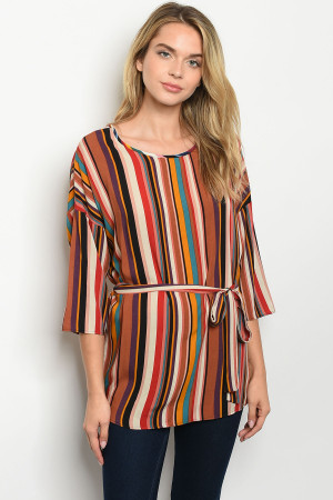 C45-A-3-T5041 RUST MULTY STRIPES TOP 2-2-2-1