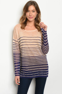 S24-7-2-T435770 PEACH NAVY STRIPES TOP 1-3