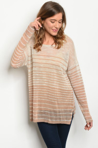 S24-7-2-T435770 BEIGE MOCHA STRIPES TOP 1-3