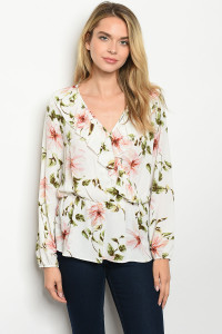 C52-B-3-T8177 IVORY FLORAL TOP 2-2-2