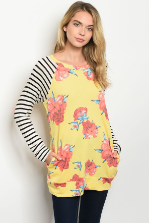 C66-B-2-T8158 YELLOW STRIPES WITH FLOWER PRINT TOP 2-2-2