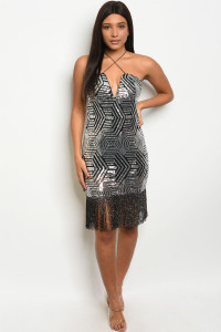 S18-7-2-D0802 BLACK SILVER WITH SEQUINS DRESS 2-1-3  ***WARNING: California Proposition 65***