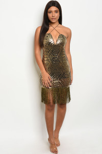 S8-2-1-D0802 BLACK GOLD WITH SEQUINS DRESS 2-2-2  ***WARNING: California Proposition 65***