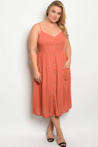 C33-A-2-D3064X RUST PLUS SIZE DRESS 2-2-2