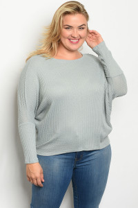 C46-B-2-T1973X SAGE PLUS SIZE TOP 2-2-2