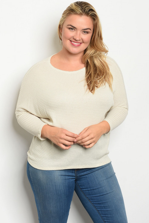 C46-B-3-T1973X CREAM PLUS SIZE TOP 2-2-2