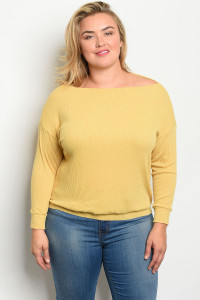 C48-B-3-T1990X MUSTARD PLUS SIZE TOP 2-2-2