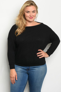 C52-B-5-T1990X BLACK PLUS SIZE TOP 2-2-2