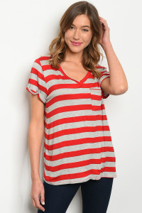 C73-B-2-T12751 RED GRAY STRIPES TOP 1-2-3