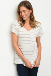 C73-B-2-T12751 IVORY GRAY STRIPES TOP 1-2-3