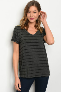 C73-B-4-T12751 CHARCOAL BLACK STRIPES TOP 1-2-3