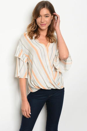 C21-B-4-T10104 IVORY  MUSTARD STRIPES TOP 2-2-2