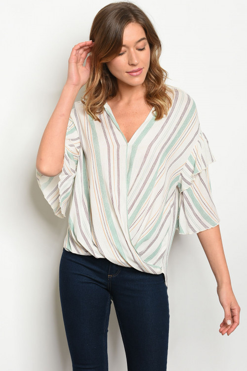 C11-B-5-T10104 IVORY  MINT STRIPES TOP 2-2-2