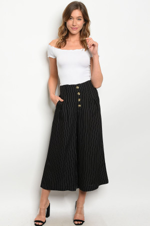 S18-4-3-P7634 BLACK WHITE STRIPES PANTS 2-2-2