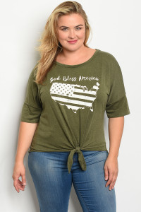 "C79-A-1-T13275X OLIVE ""GOLD BLESS AMERICA"" PRINT PLUS SIZE TOP 1-3-2"
