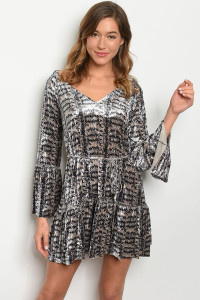 S20-4-4-D2352 GRAY SNAKE ANIMAL PRINT DRESS 3-2-1