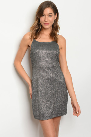 S16-4-4-D1492 BLACK SILVER WITH SHIMMER DRESS 3-2-1  ***WARNING: California Proposition 65***