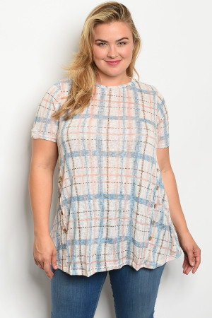 S16-6-4-T12041X BLUE CHECKERED PLUS SIZE TOP 3-2-1