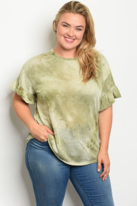 S14-12-4-T466X OLIVE TIE DYE PLUS SIZE DRESS 2-2-2