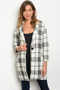 S3-10-2-C90386 IVORY BLACK CHECKERED COAT 2-2-2