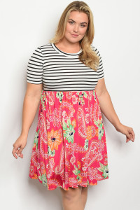 C48-A-2-D751X IVORY FUCHSIA STRIPES PLUS SIZE DRESS 2-2-2