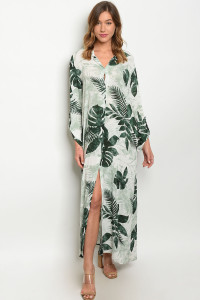 S10-16-3-D50078 OFF WHITE GREEN WITH LEAVES DRESS 1-1-4