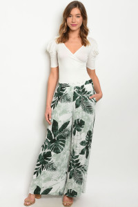 S8-6-4-P70010 OFF WHITE GREEN WITH LEAVES PANTS 2-2-2