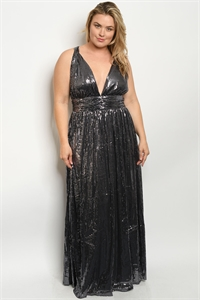 S7-3-3-D9964X BLACK SILVER SEQUINS PLUS SIZE DRESS 2-2-2  ***WARNING: California Proposition 65***