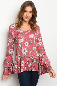 C100-B-2-T8731 ROSE WITH FLOWER PRINT TOP 2-2-2