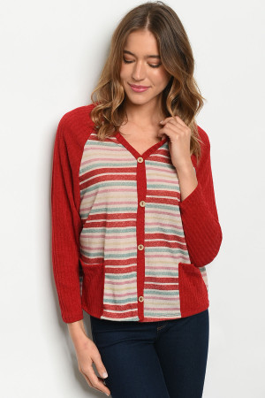 C83-B-2-T1097 RED MULTI STRIPES TOP 2-2-2