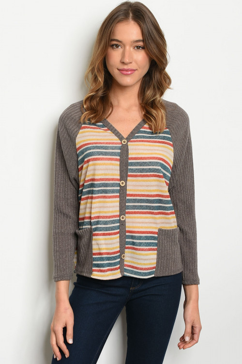 C80-B-2-T1097 MOCHA MULTI STRIPES TOP 2-2-2
