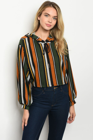 C47-B-7-T1205 OLIVE MUSTARD STRIPES TOP 2-2-2