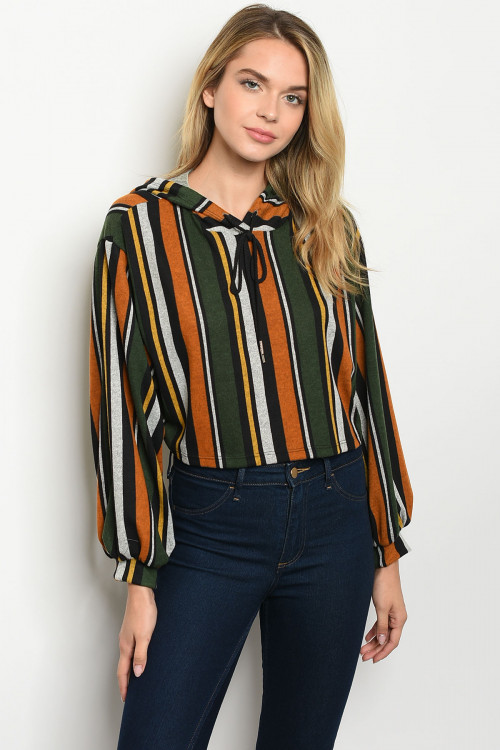 C47-B-3-T1205 OLIVE MUSTARD STRIPES TOP 2-2-2