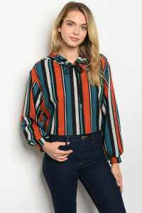 C43-B-3-T1205 TEAL ORANGE STRIPES TOP 2-2-2