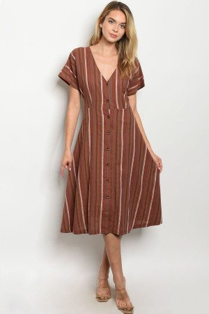 S8-5-3-D7986 MOCHA MULTI STRIPES DRESS 3-2-1