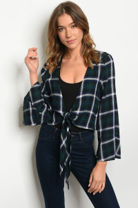 S22-13-5-T1000 GREEN CHECKERED TOP 2-2-2