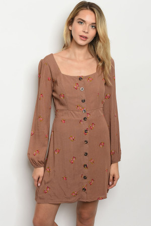 S24-7-5-D2093 MAUVE WITH FLOWER PRINT DRESS 2-2-2
