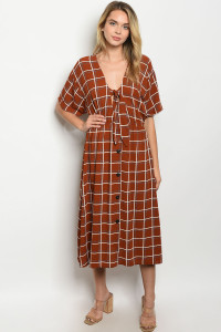 S11-8-1-D2037 RUST CHECKERED DRESS 2-2-2
