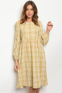 SA3-7-4-D4430 MUSTARD CHECKERED DRESS 3-2-1