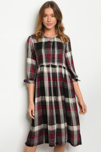 S8-14-2-D4658 MAROON BLACK CHECKERED DRESS 3-2-1