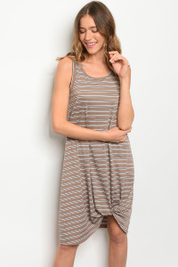 C26-A-1-D9206 MOCHA STRIPES DRESS 2-1