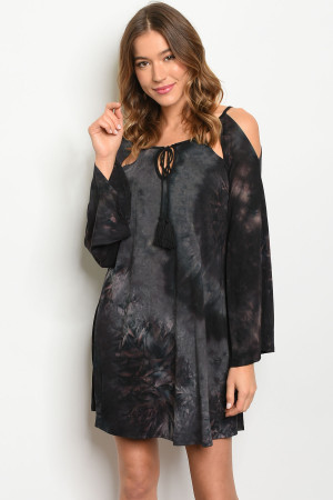 C27-A-3-D8156 BLACK TIE DYE DRESS 2-2-2