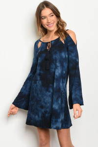 C37-A-7-D8156 NAVY TIE DYE DRESS 2-2-2